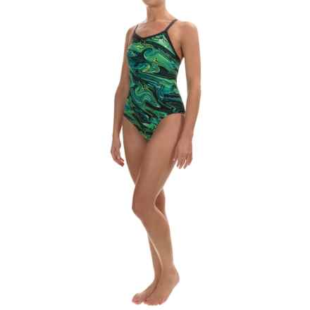 TYR Oil Slick Diamondfit Swimsuit - UPF 50+ (For Women) in Green - Closeouts