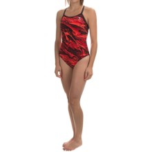 TYR Oil Slick Diamondfit Swimsuit - UPF 50+ (For Women) in Red - Closeouts