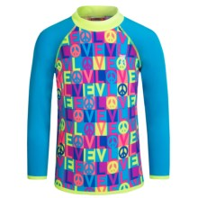 TYR Peace & Love Graphic Rash Guard - UPF 50+, Long Sleeve (For Little and Big Girls) in Blue/Pink - Closeouts