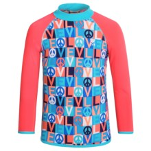 TYR Peace & Love Graphic Rash Guard - UPF 50+, Long Sleeve (For Little and Big Girls) in Navy/Red - Closeouts