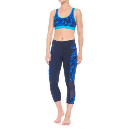 TYR Racerback Bikini Top and Swim Capris Set - UPF 50+ (For Women) in Blue Multi - Closeouts