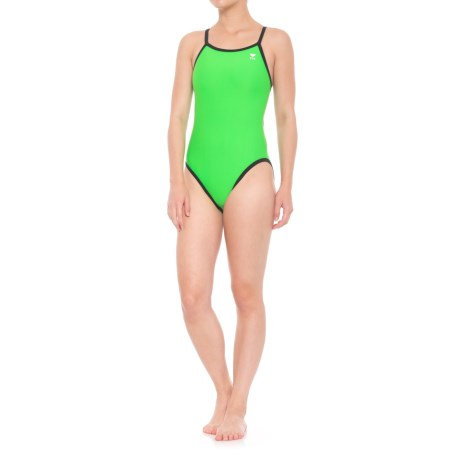 TYR Reversible Diamondfit One-Piece Swimsuit (For Women) in Black/Bright Green