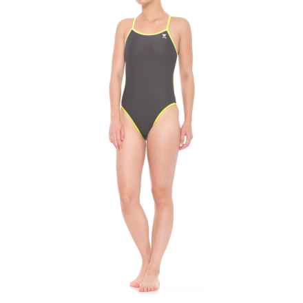 TYR Reversible Double Binding Diamondfit One-Piece Swimsuit - UPF 50+ (For Women) in Grey/Pink/Lime - Closeouts