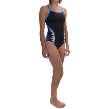 TYR Shark Bite Diamondfit Swimsuit - UPF 50+ (For Women) in Black/Blue - Closeouts