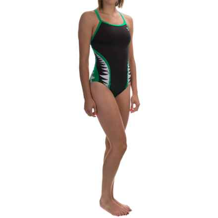 TYR Shark Bite Diamondfit Swimsuit - UPF 50+ (For Women) in Black/Green - Closeouts