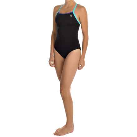 TYR Solid Brites Diamondfit Swimsuit - UPF 50+, Keyhole Back (For Women) in Black/Purple/Blue - Closeouts
