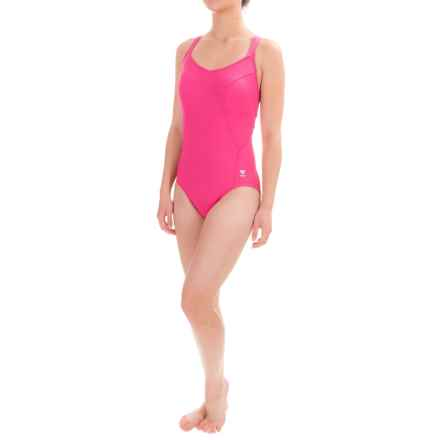 TYR Solid Halter One-Piece Swimsuit - UPF 50+, Molded Cups (For Women) in Pink - Closeouts
