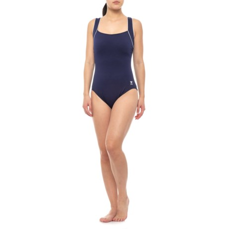 8a231a45752 TYR Square Neck Controlfit Swimsuit - UPF 50+ (For Women) in Navy