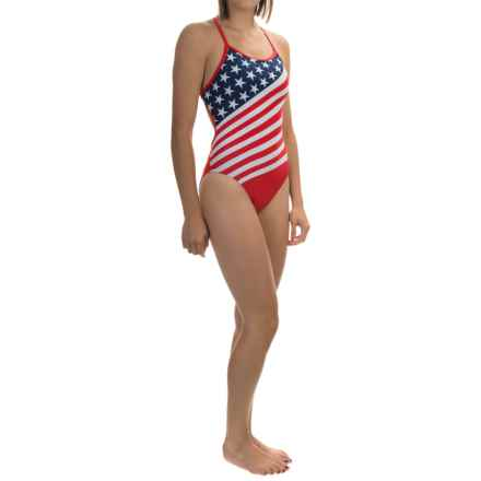 TYR Stars and Stripes Crosscutfit Swimsuit - UPF 50+ (For Women) in Navy/Red - Closeouts