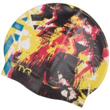 TYR The King Swim Cap (For Men and Women) in Black/Yellow - Closeouts