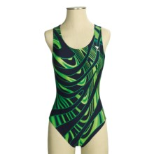 TYR Thor Swimsuit - Maxback, 1-Piece (For Women) in Navy/Green - Closeouts