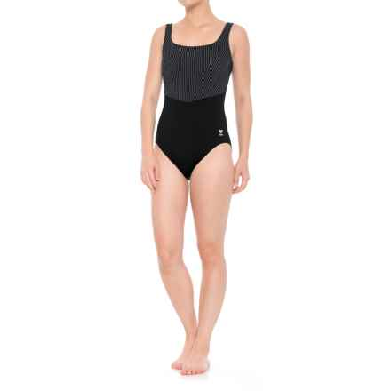 TYR Zigzag Fitness One-Piece Swimsuit - UPF 50+ (For Women) in Black/Grey - Closeouts