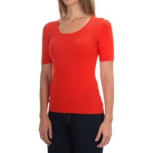 U-Neck Sweater - Short Sleeve (For Women) in Salmon - 2nds
