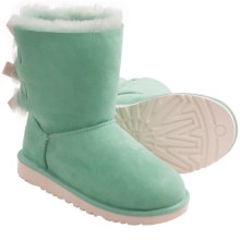 UGG® Australia Bailey Bow Boots - Sheepskin (For Kid Girls) in Surf Spray - Closeouts