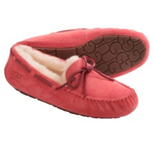 UGG® Australia Dakota Moccasin Slippers - Suede (For Women) in Coral Reef - Closeouts