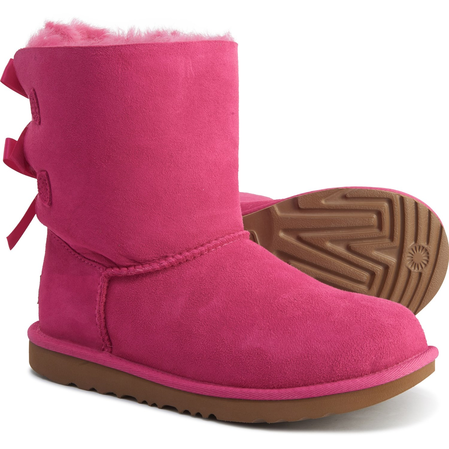 UGG Girls Boots Pink Bailey Button Star Boots