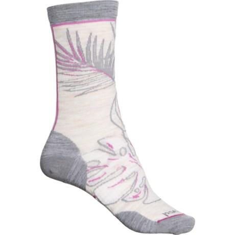 Ultra Light Paradise Leaf Socks - Merino Wool, Crew (For Women) - MOONBEAM (M ) -  SmartWool