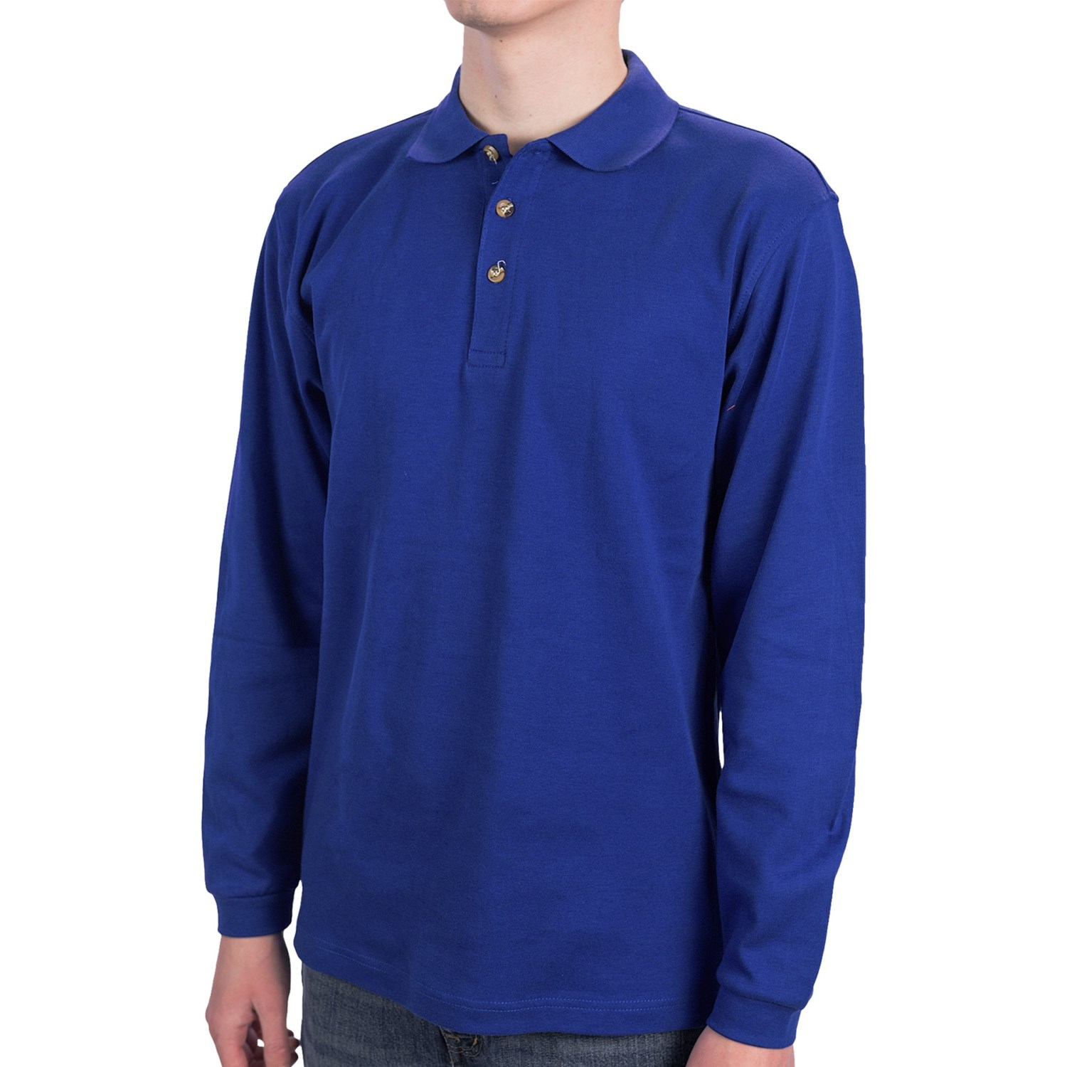 Long sleeve cotton polo shirts for mens for Mens cotton polo shirts