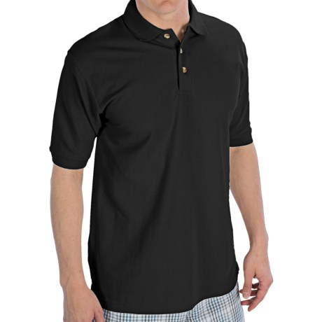 UltraClub Luxury Double Pique Polo Shirt - Short Sleeve (For Men) in Black