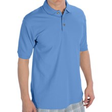 UltraClub Luxury Double Pique Polo Shirt - Short Sleeve (For Men) in Cornflower - Closeouts