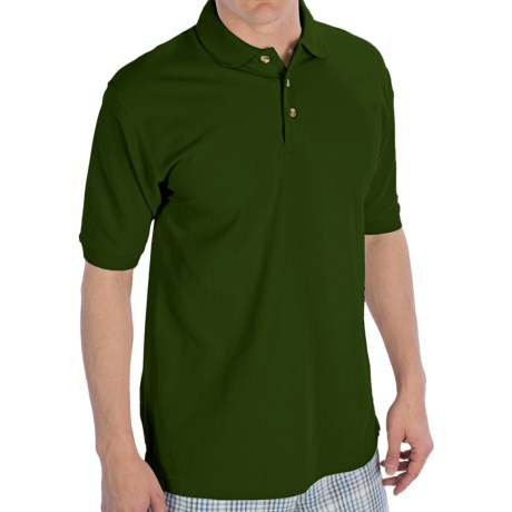 UltraClub Luxury Double Pique Polo Shirt - Short Sleeve (For Men) in Forest Green