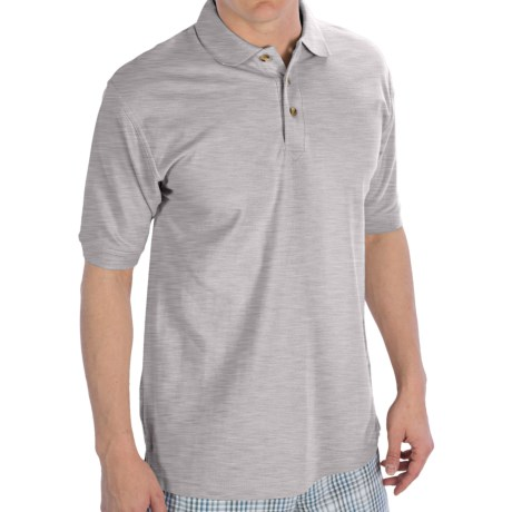 UltraClub Luxury Double Pique Polo Shirt - Short Sleeve (For Men) in Grey Heather
