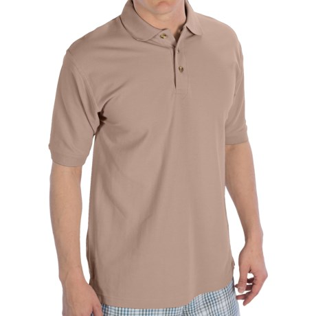 UltraClub Luxury Double Pique Polo Shirt - Short Sleeve (For Men) in Putty