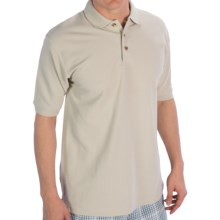 UltraClub Luxury Double Pique Polo Shirt - Short Sleeve (For Men) in Stone - Closeouts
