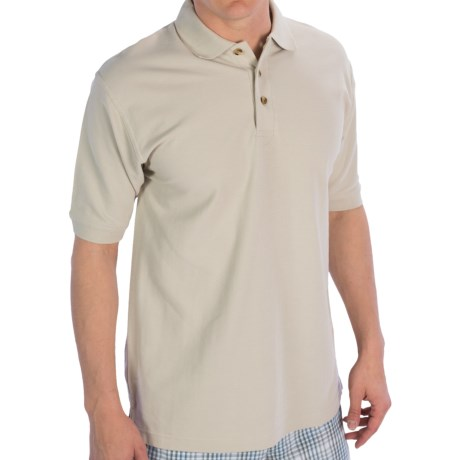 UltraClub Luxury Double Pique Polo Shirt - Short Sleeve (For Men) in Stone