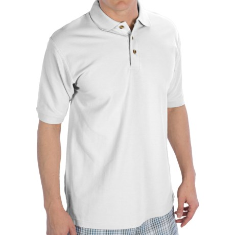UltraClub Luxury Double Pique Polo Shirt - Short Sleeve (For Men) in White