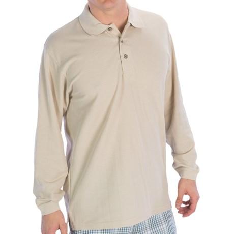 UltraClub Whisper Pique Polo Shirt - Long Sleeve (For Men) in Stone