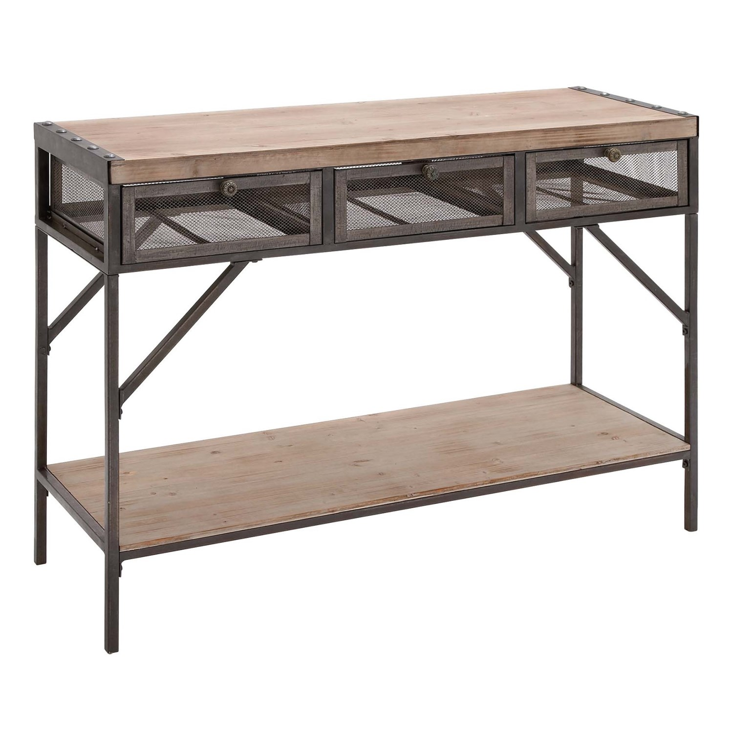 Uma 3 drawer wood and metal console table 43x32 save 31 uma 3 drawer wood and metal console table 43x32 in naturalblack geotapseo Images