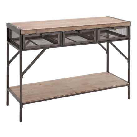 "UMA 3-Drawer Wood and Metal Console Table - 43x32"" in Natural/Black - Closeouts"