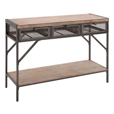 """UMA 3-Drawer Wood and Metal Console Table - 43x32"""" in Natural/Black"""
