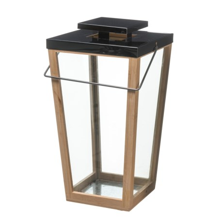 UMA Bamboo and Stainless Steel Lantern in Natural/Brown