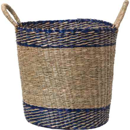 "UMA Blue Stripe Seagrass Storage Basket - Large, 20"" in Blue"