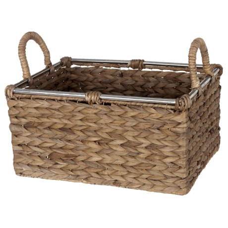 """UMA Braided Rectangle Seagrass Storage Basket -  10x14x10"""" in Natural"""