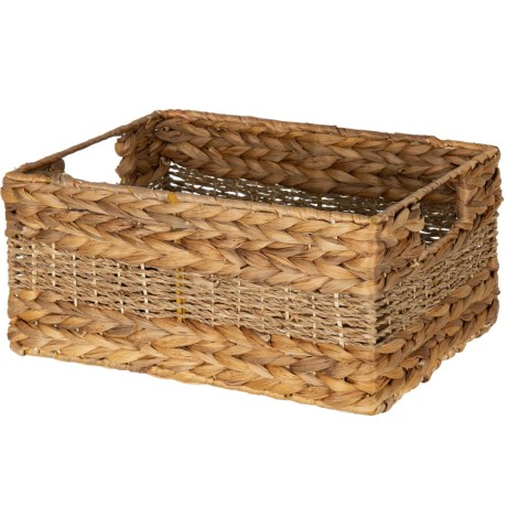 """UMA Braided Rectangle Seagrass Storage Basket - 7x16x11"""" in Natural"""