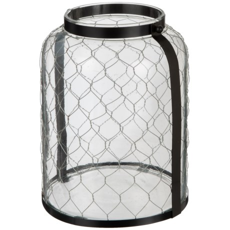 """UMA Chicken Wire and Glass Candle Lantern - 9x12"""" in Black"""