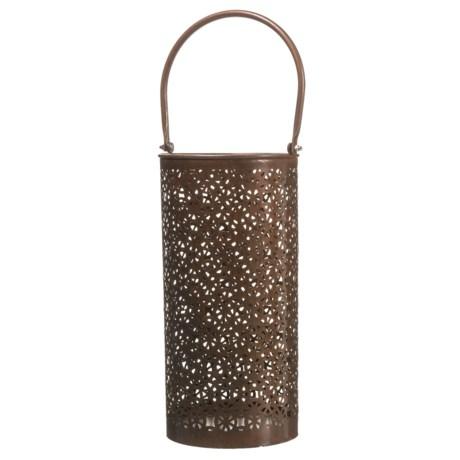 "UMA Disk Metal Candle Lantern - 20"" in Brown"