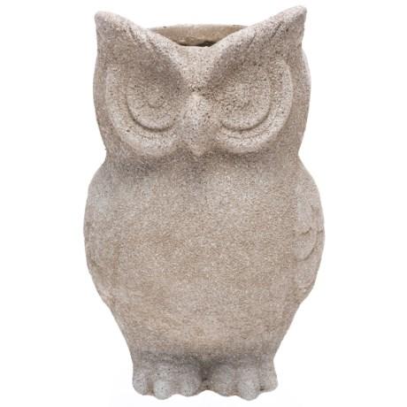 "UMA Fiber Clay Owl Planter - 10x15"" in Stone"