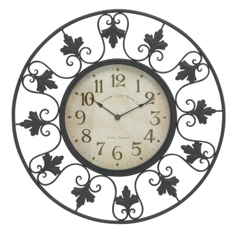 "UMA Fleur-de-lis Metal Outdoor Wall Clock - 23"" in Black"