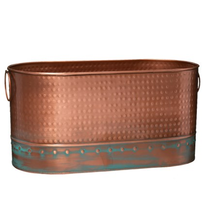 """UMA Hammered Metal Planter with Small Handles - 19"""" in Copper/Green"""