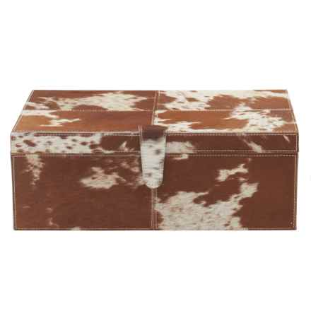 "UMA Leather and Hide Storage Box - 17"" Medium Rectangle in Chestnut/White - Closeouts"