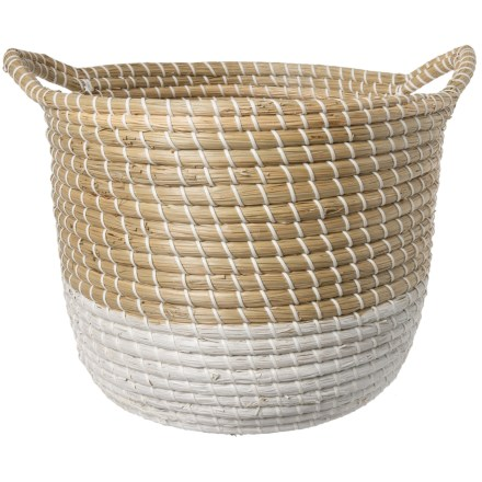 UMA Light Natural and White Seagrass Basket - Large in Natural White -  Closeouts 21a1ad1f38168