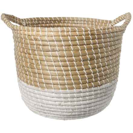 UMA Light Natural and White Seagrass Basket - Large in Natural/White - Closeouts