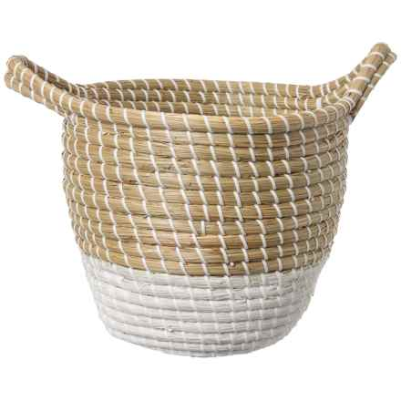 UMA Light Natural and White Seagrass Storage Basket - Small in Natural/White - Closeouts