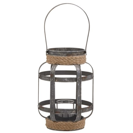 "UMA Metal-and-Glass Candle Lantern - 9x12"" in Natural/Brown"