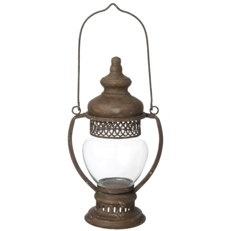 UMA Metal and Glass Long Handle Lantern in Brown