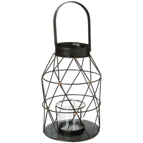 UMA Metal and Glass Overlapping Diamond Lantern in Brown